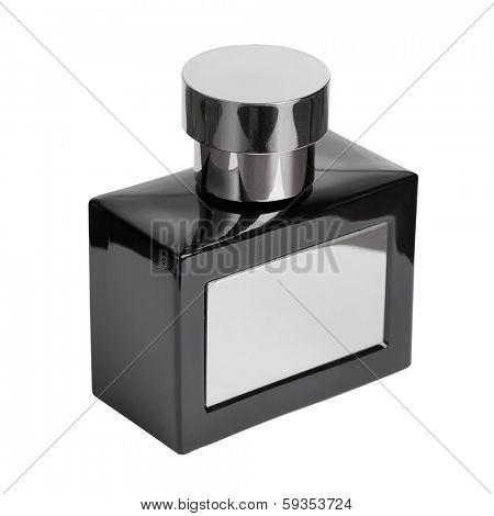 Black perfume bottle isolated