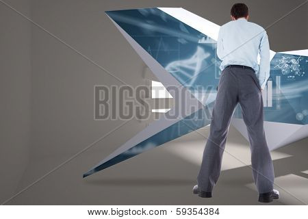 Thoughtful businessman with hand on chin against digitally generated room with bordered up window