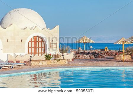 DAHAB, EGYPT - JANUARY 30, 2011: Empty resort during the Egyptian revolution. Most tourists and western workers fled Dahab during the revolution.