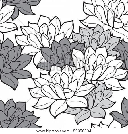 Stylish lotus flowers seamless background
