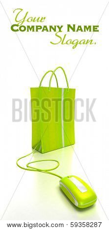 green shopping bag connected to a computer mouse