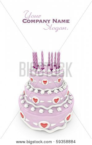 3D rendering of  a impressive pink three floor cake with red hearts and candles