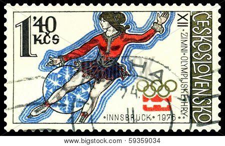 Vintage  Postage Stamp.  Figure Skater.