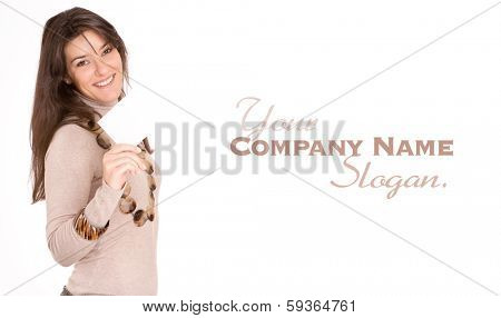 Isolated portrait of a cute young woman holding a blank message
