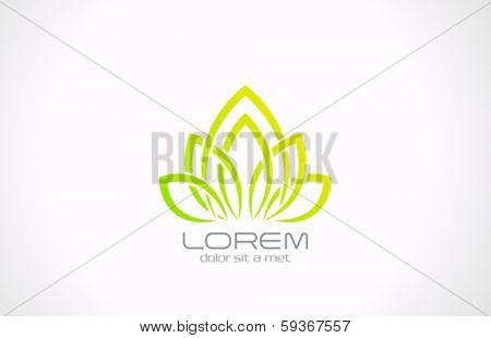 SPA Healthcare Eco Flower vector logo design template. Health green ecology creative symbol such as