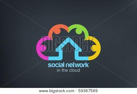 Social Cloud vector logo design template. Social Marketing Network concept symbol. Startup business abstract idea.