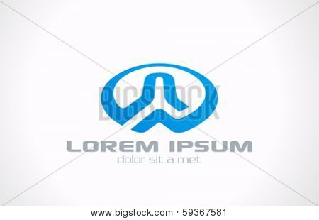 Ellipse abstract vector logo design template. Business circle concept icon symbol. Creative blue sign.