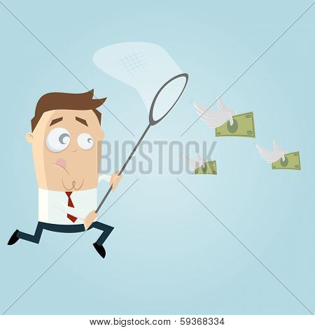 businessman is trying to catch money