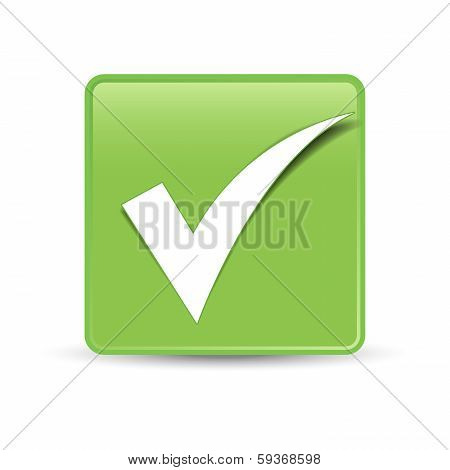 Check Mark Symbol Green Button