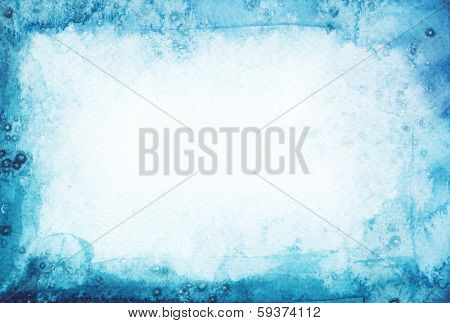 Abstract watercolor painted background. Snow winter texture.