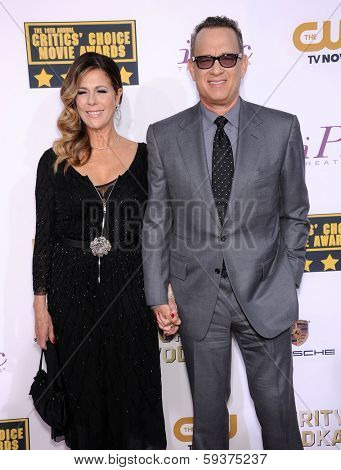 LOS ANGELES - JAN 16:  Tom Hanks & Rita Wilson arrives to the Critics' Choice Movie Awards 2014  on January 16, 2014 in Santa Monica, CA