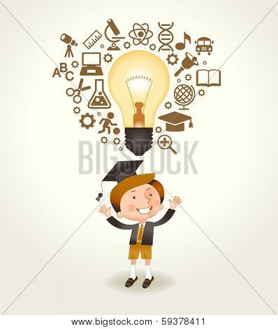 A cheerful boy having a good idea. Light bulb and education icons over his head boy. The file is saved in the version AI10 EPS. This image contains transparency.