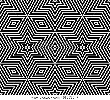 Seamless geometric texture. Stars pattern. Vector art.