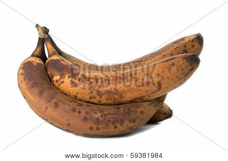 Closeup Of Overripe And Old Banana Isolated On White