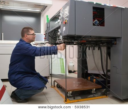 Printer At The New Printed Machine
