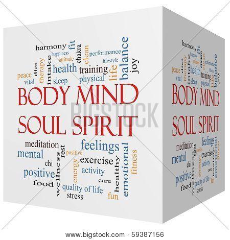 Body Mind Soul Spirit 3D Cube Word Cloud Concept