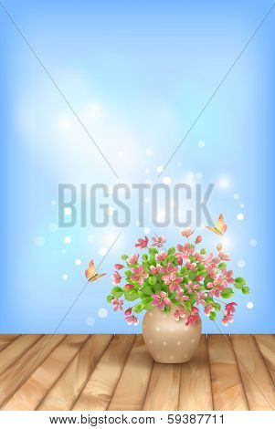 Spring pink flowers butterfly on sky background