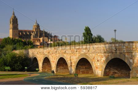 Ancient bridge and cathedral Salamanca Spain