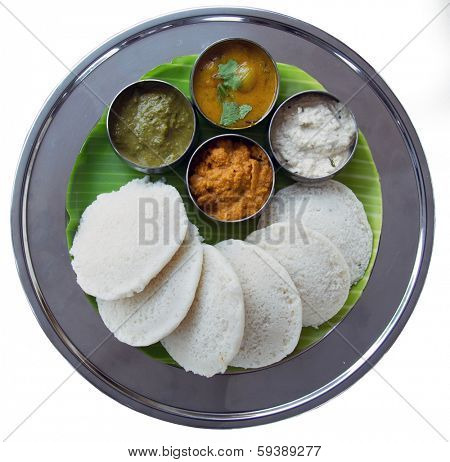 Idli and sambar isolated on white background.  South Indian Snack