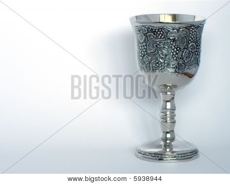 Silver grail over white background