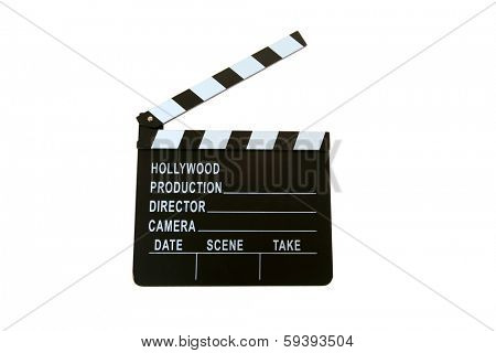 A Genuine Hollywood Movie Clapper Board. Isolated on white with room for your text. Clapper Boards are used to mark the beginning and ending of a movie scene with info like date, time, scene and more.
