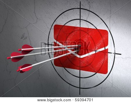 Finance concept: arrows in Email target on wall background
