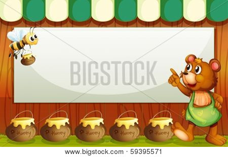 Illustration of an empty rectangular template with a bee and a bear