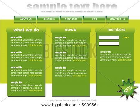 White and green web2 website template