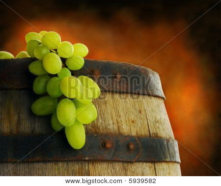 Close up of grape and barrel
