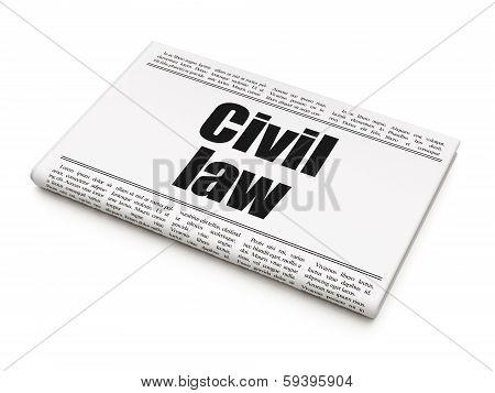 Law concept: newspaper headline Civil Law