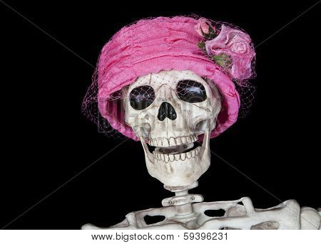 Skeleton In Vintage Pink Hat