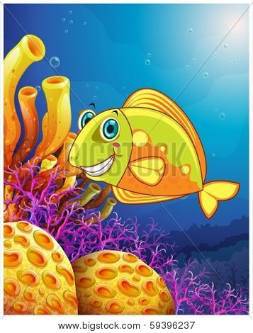 Illustration of a smiling fish under the sea on a white background