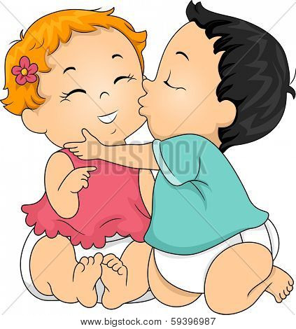 Illustration of a Baby Boy Giving a Baby Girl a Kiss on the Cheek