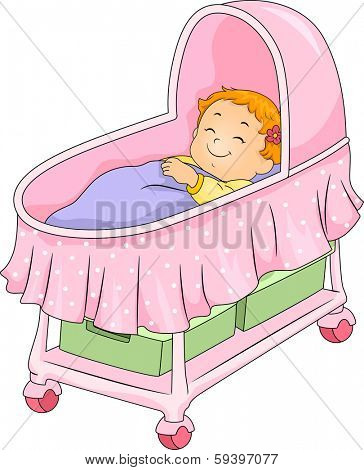 Illustration of a Little Girl Lying on a Bassinet