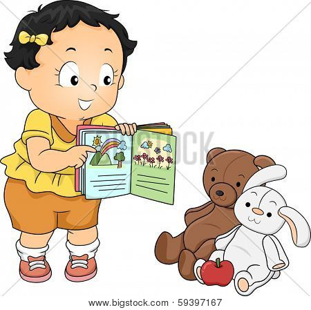 Illustration of a Little Girl Trying to Teach Her Stuffed Toys