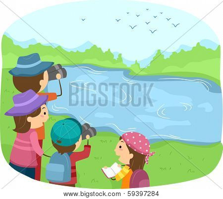 Illustration of a Group of Kids Watching Birds Near a Lake