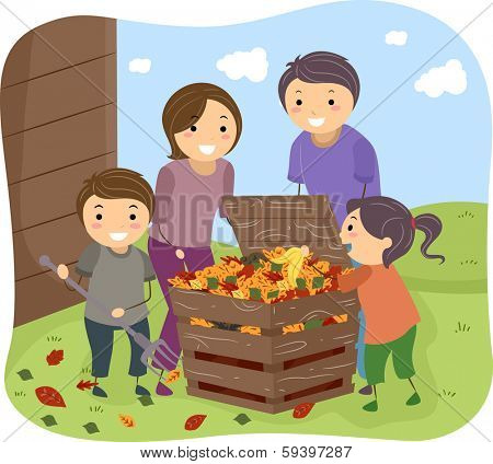 Illustration of a Family Filling a Compost Bin Together