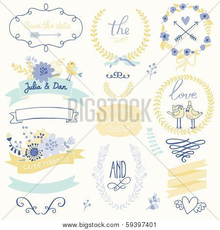 Wedding gentle collection with labels, ribbons, hearts, flowers, arrows, wreaths, laurel and birds. Graphic set in retro style. Save the Date invitation in vector.