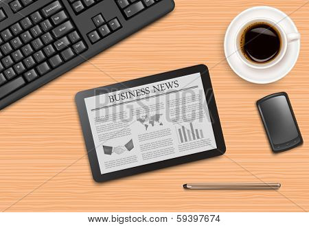 Tablet with news and office supplies laying on the board. Vector.