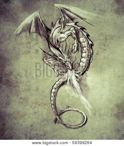 Sketch of tattoo art, Fantasy dragon. Sketch of tattoo art, medieval monster