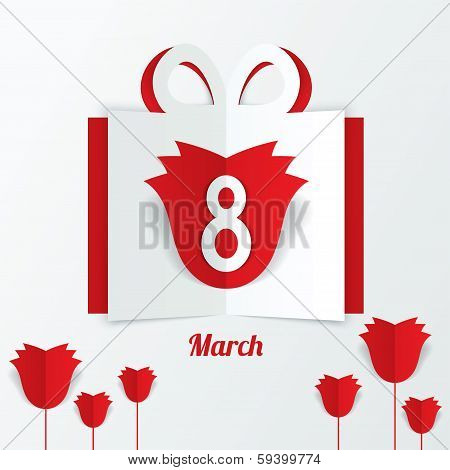 8 March Women's Day paper gift box with red roses