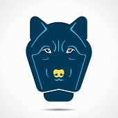 stock photo of werewolf hunter  - abstract blue wolf face  - JPG