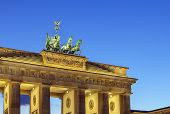 pic of rebuilt  - The Brandenburg Gate is a former city gate rebuilt in the late 18th century as a neoclassical triumphal arch and now one of the most well - JPG