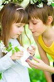 pic of nasal catarrh  - Little girl is blowing her nose brother gives her nasal spray - JPG