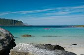 picture of lofoten  - Kayak in beautiful clear water of Lofoten islands - JPG