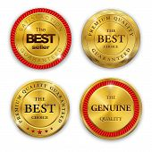 picture of medal  - Set of blank round polished gold metal badges on white background - JPG