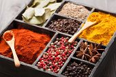 stock photo of bay leaf  - spices in box - JPG