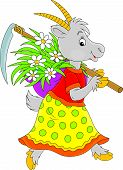 image of scythe  - Goat going with a scythe and wisp of straw with flowers - JPG