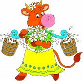 picture of yoke  - Funny cow walking with bucketful of milk - JPG