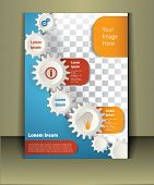 foto of cogwheel  - Vector  brochure template design with cogwheels - JPG